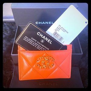 NIB Chanel 19 Orange Cardholder